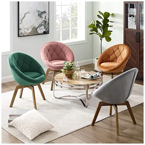 Living Room Volans Mid Century Modern Swivel Accent Chair, Velvet Vanity Chair with Round Tufted Back, Upholstered Lounge Chair with… modern accent chairs