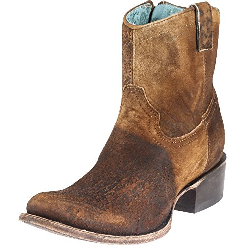 Corral Women's Lamb Abstract Short Boot Round Toe Chocolate 7 M (Toe Boots Chocolate)