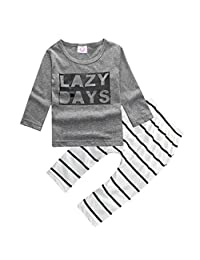 Baby Boys 2pcs Cotton Long Sleeve Letters T-shirt and Striped Pants Outfits