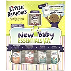 Little Remedies, Paraben Free, New Baby Essentials Kit (Saline Drops, Gripe Water, Nasal Aspirator, Fever Reducer & Cough Syrup) Intended for Newborns -2 Years