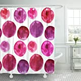 Pink and Purple Polka Dot Shower Curtain Emvency Shower Curtain Purple of Polka Dots The Pattern Watercolor Pink Burgundy Waterproof Polyester Fabric 60 x 72 Inches Set with Hooks