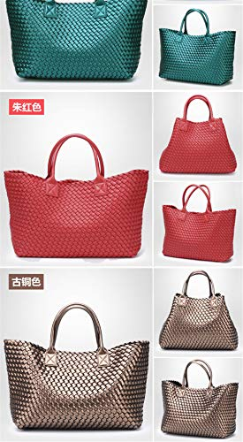 Capacity Handbag New Shoulder Woven Trendy Hand Yinguang Bag Blue Large Winter wx0Xr0Hq