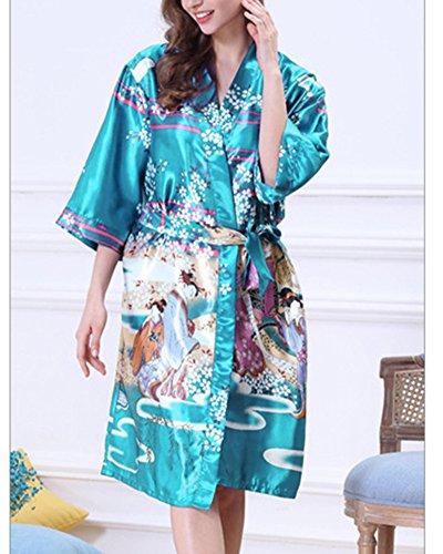 Cintura Pavone Corto Raso Blu Kimono Scollo Raso Notte V Vestaglie a da Pigiama Donna Con in Fiore Lago xwqXCPS7pp