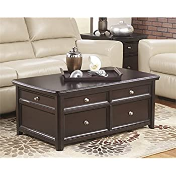 Ashley Furniture Signature Design Carlyle Lift Top Coffee Table 4 Drawers Contemporary Living Almost Black