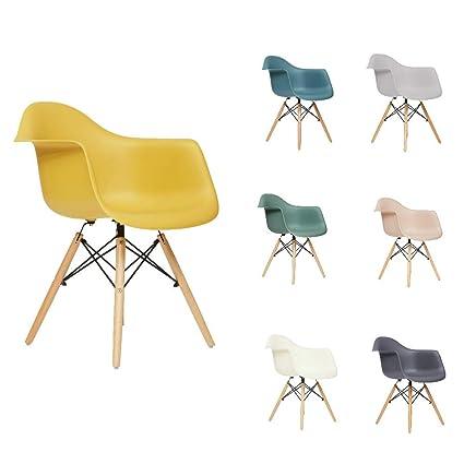 Fusionwell Dining Plastic Armchair With Eiffel Retro Wooden Legs