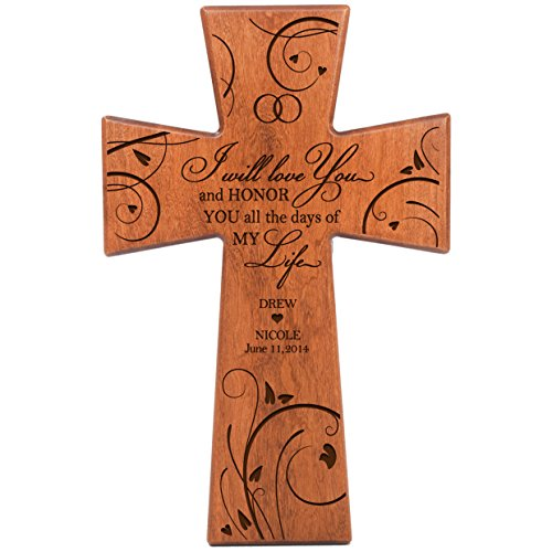 Personalized Wooden Cross (Personalized Wedding anniversary gift for him her couple Custom Laser engraved cherry wall Cross for Bride and Groom I Will Love You and Honor You All the Days of My Life Made in USA)