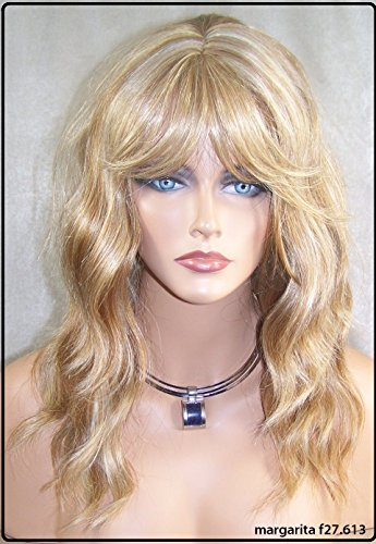 Beautiful Human Hair Blended with Heat Safe Synthetic Wavy Full Wig with Bangs Mar (27.613 Strawberry & Pale Blonde Mix)