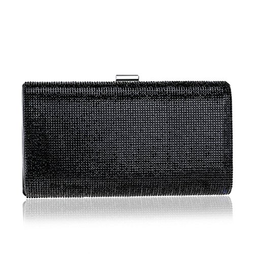Ladies Evening Clutches Dresses Purse Crossbody Black Color Bag Black Bag Rhinestones KERVINFENDRIYUN Handbag HBUnFdqH