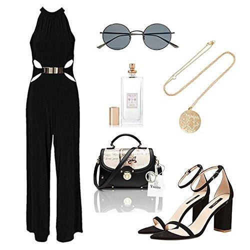 Yoome calle estilo bolsa de solapa de impresión de gran capacidad de remaches bolso bolsa de hombro funcional New Chic - Negro Negro