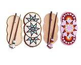 LA VIVIA Flower Bead work Multi color Wood Stick HANDMADE Hair Barrette COMBO OF 2 Z-40-132