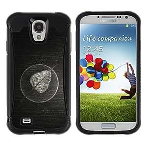 LASTONE PHONE CASE / Suave Silicona Caso Carcasa de Caucho Funda para Samsung Galaxy S4 I9500 / Minimalist Leaf On Wood