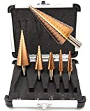 "5PC HSS Cobalt Step Drill Bits Set Metric Sizes Bits with Aluminum Case,Shank 1/4'', 5/16"", 3/8"""