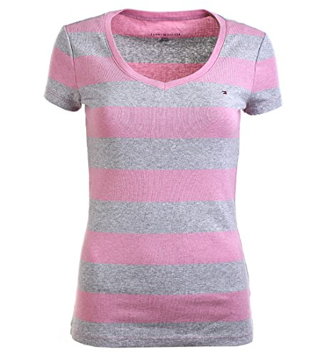 Tommy Hilfiger Damen V-Neck Shirt T-Shirt rosa-grau Größe M