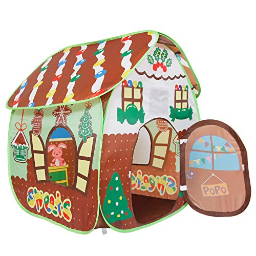 ALPIKA Toys Play Tent for Kids Indoor and Outdoor Kids Playhouse with Carrying Bag(Gingerbread Playhouse)