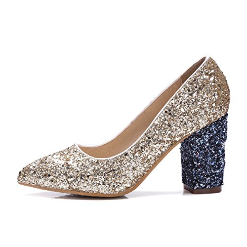 Heel Thick Shoes Platform Heel Shoes Gold AIWEIYi Glittler Woman Wedding Shoes Square High FqnOtTIwB