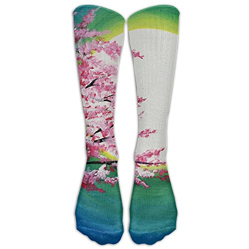 Cherry Blossom Art Pattern Knee High Socks Casual Stockings Comfortable Novelty Sports Socks Size 6-10 (One - Blossom Cherry Canada