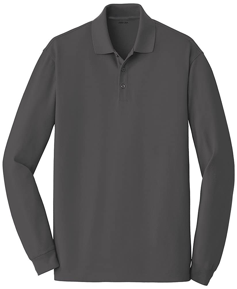 Joes USA Soft Smooth Easy Cotton Long Sleeve Polos in Sizes XS-4XL