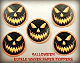 "12 HALLOWEEN SPOOKY JACK O LANTERN PUMPKIN CARVED FACES PRECUT EDIBLE CAKE TOPPERS 1.5"" SMALL Dozen Set - Cake, Cookie, Lollipop and Cupcake Toppers, Decorations for Children's Birthdays Party Supplies"