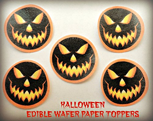 12 HALLOWEEN SPOOKY JACK O LANTERN PUMPKIN CARVED FACES PRECUT EDIBLE CAKE TOPPERS 1.5