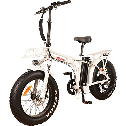 DJ Folding Bike 750W 48V 13Ah Power Electric Bicycle, UL 2849, Pearl White, LED Bike Light, Suspension Fork and Shimano Gear,