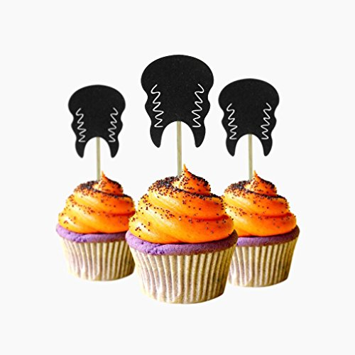 Bride Monster Halloween Cupcake Topper 12 pieces per Pack Decoration Cake glitter Card Stock Black