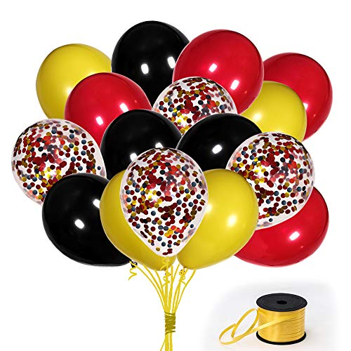 70Pack Mickey Color Balloons, 12 Inch Red Black Yellow Latex Balloons Premium Helium Quality Sequins Balloon For Party Supplies and Decorations(With Yellow Ribbon) -