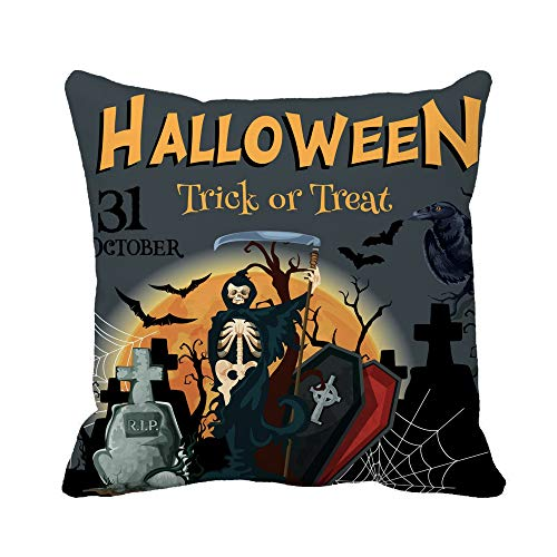 Awowee Throw Pillow Cover Halloween Trick Treat Party for 31 October Horror Night 18x18 Inches Pillowcase Home Decorative Square Pillow Case Cushion -