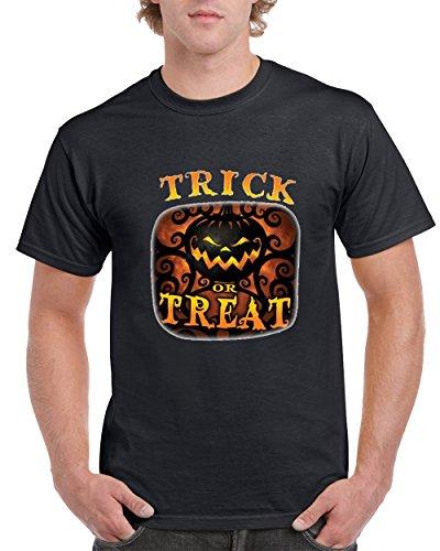 (Trick or Treat Pumpkin Head Men's T-Shirts Round NeckTee Shirts for Men (Black,X-Large))