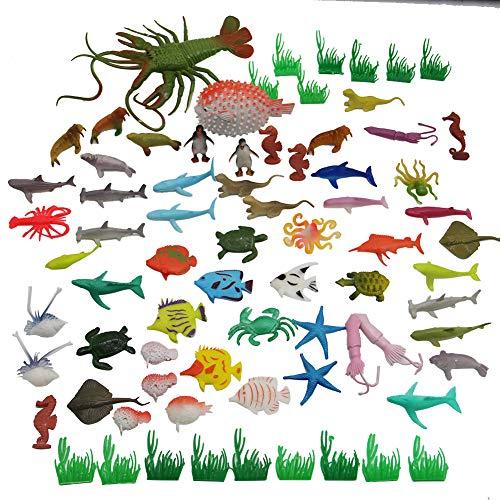 winemana 74 PCs 2 inches Deep Rubber Sea Creations Sea Animal Toys Model Toy Bathtub Toys Educational Toys for Kids (colour) ()