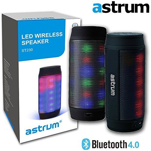 Click to buy Astrum ST230 Portable Wireless Bluetooth LED Speaker - Colorful LED Light Pulse Wireless Speaker w Built-in Microphone for Apple iPhone, iPad, Samsung, LG, Sony, HTC, Other Bluetooth Enabled Devices - From only $48.95