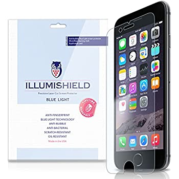 """iLLumiShield - Apple iPhone 6 Screen Protector 4.7"""" + (HD) Blue Light UV Filter / Premium High Definition Clear Film / Reduces Eye Fatigue and Eye Strain - Anti- Fingerprint / Anti-Bubble / Anti-Bacterial Shield - Comes With Free LifeTime Replacement Warranty - [2-Pack] Retail Packaging"""