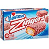 Hostess Zingers Raspberry-Iced Cake with Creme Filling, 10 Per Box (Pack of 2)