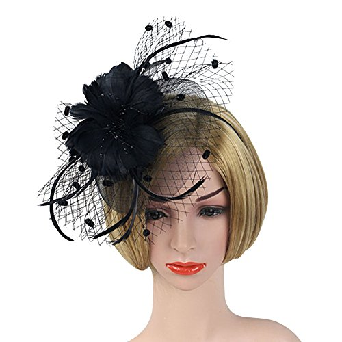 Big Hair Band Costumes (ACTLATI Charming Netting Mesh Headband Feather Big Flowers Hair Band Party Girls Women Wedding Bridal Fascinator Cocktail Hat Black)