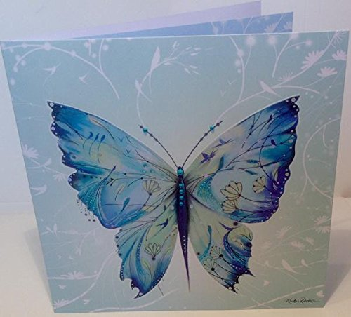 ARABESQUE KIMONO Painted Silk Butterfly Birthday Greeting Card by Marilyn Robertson - 6.25 x 6.25 inches - Blank Inside