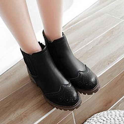 Easemax Womens Trendy Perforated Stitching Round Toe Mid Chunky Heel Elastic Ankle Boots Black avXaAH