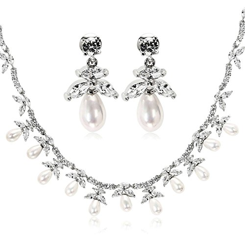womens Silver Plated Jewelry Set Pearl CZ Earrings Necklace Retro Wedding Engagement White Aooaz Jewelry by Aooaz