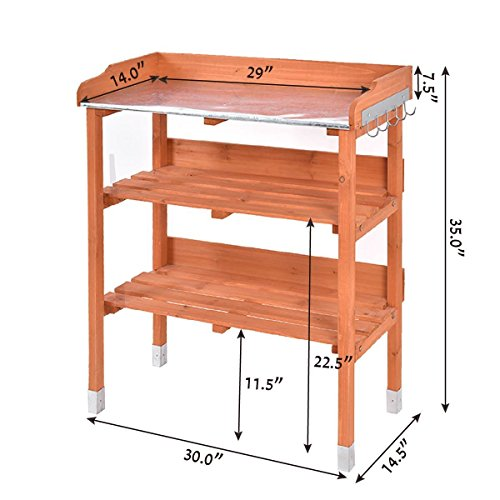Heaven Tvcz Potting Bench Work Station Table Tool Storage Station Patio Shelf Garden Work Wooden Hook Outdoor by Heaven Tvcz (Image #3)
