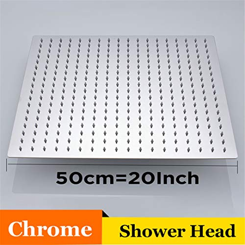 Bestyunyu 20 Inch Stainless Steel Square Shower Head Chrome Nickel Faucets Accessories Over-Head er Shower Head Chrome 20 inch