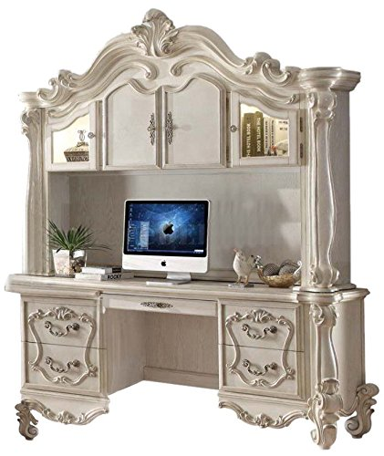 Acme Furniture ACME Versailles Bone White Desk with Hutch (Home Set Contemporary Office)