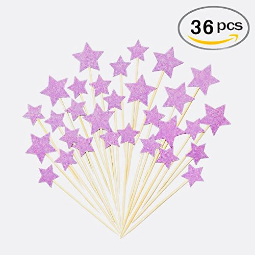 Purple Red Star Cake Toppers Kids Birthday Party Baby Shower Cupcake Decorations 36pcs
