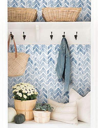 Fleefilo はがせる壁紙 壁紙シール 青い 水彩 幾何学的な 柄 壁 シール リメイクシート DIY FL2067 (FL2067, 45cm x 10m)