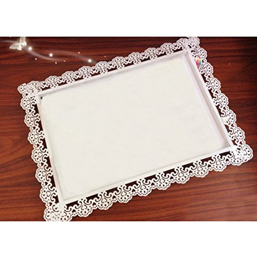 (Aimeart European Style Steel Cake Tray with Hollowed Lace Rim, White Small (8