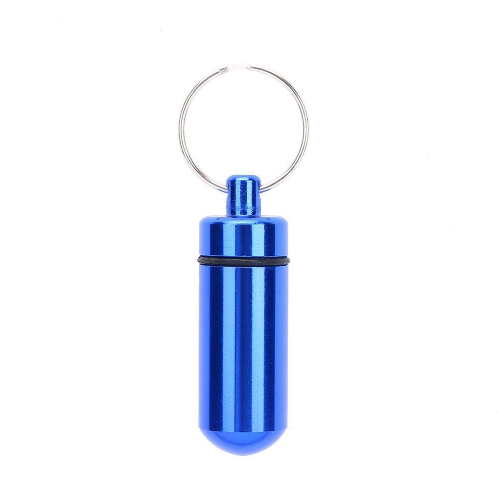 WeiMay 6 Pcs /Étanche en Aluminium Pill Box Case Bottle Keychain Portable Cache M/édecine Porte-m/édicaments Porte-cl/és Conteneur Couleur Al/éatoire
