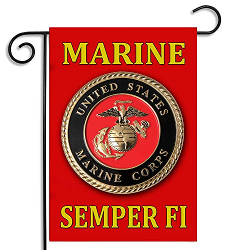 - Brotherhood United States Marine Corps Emblem Semper Fi Red Apartment and Garden Flag