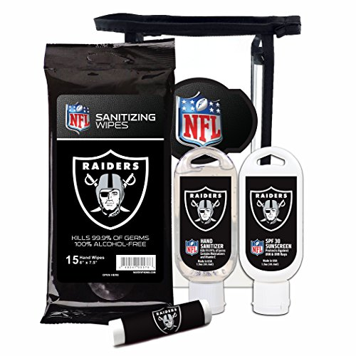 (Worthy Promotional NFL Oakland Raiders 4-Piece Premium Gift Set with SPF 15 Lip Balm, Sanitizer, Wipes, Sunscreen)