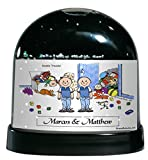 Personalized Friendly Folks Cartoon Caricature Snow Globe Gift: Twin Brothers Great for room décor