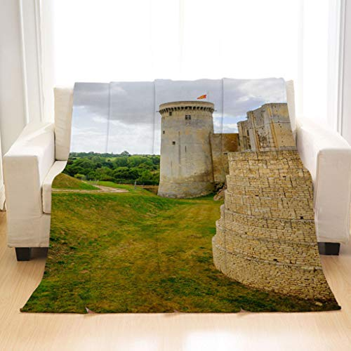 Luxury Chateau Blanket - BEIVIVI Luxury Super Soft Throw Blanket View of The Chateau de Falaise All Season Blanket for Bed Or Sofa, Easy Care