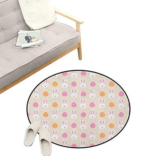 Easter Round Rugs for Bedroom ,Cartoon Style Childish Pattern with Bunny Faces and Egg Silhouettes, Skid Resistant Rug Pet Pad 31