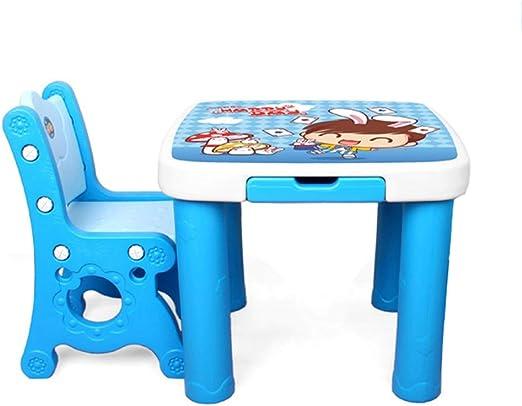 LIANGJUN Juegos De Mesa Y Sillas for Niños Portátil Modelo Jardín De Infancia Escribir Aprender Dibujo Art, Peso Ligero, Azul (Color : B): Amazon.es: Hogar
