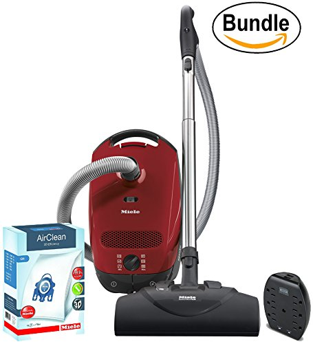 New Miele Classic C1 Titan Poweline Canister Vacuum, Mango Red - ReVIVE Rapid Dual USB 6 Outlet Wall AC Adapter, & 10123210 AirClean 3D Efficiency Dust Bag, Type GN, 4 Bags & 2 Filters (Bundle)